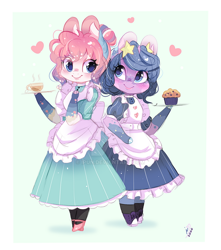 Size: 600x680 | Tagged: safe, artist:ipun, oc, oc only, oc:dream catcher, oc:pink sands, anthro, unguligrade anthro, anthro oc, arm hooves, chibi, clothes, coffee, dress, duo, female, food, heart, maid, mare, muffin