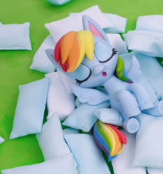 Size: 992x1061 | Tagged: safe, screencap, rainbow dash, pegasus, pony, my little pony: pony life, pillow fight (short), cropped, female, mare, pillow, sleeping, solo, stop motion