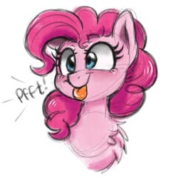 Size: 1469x1469   Tagged: safe, artist:wimsie, pinkie pie, earth pony, pony, :p, bust, chest fluff, cute, diapinkes, ponk, portrait, silly, silly pony, simple background, sketch, solo, tongue out, white background