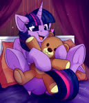 Size: 1500x1750 | Tagged: safe, artist:shadowreindeer, twilight sparkle, alicorn, pony, bed, cute, female, happy, heart, leaning back, mare, on bed, open mouth, sitting, smiling, solo, teddy bear, twiabetes, twilight sparkle (alicorn)