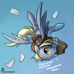 Size: 3000x3000 | Tagged: safe, artist:jedayskayvoker, derpy hooves, pegasus, pony, bag, clothes, dialogue, dopey hooves, flying, hat, high res, looking at you, mail, mailpony, male, patreon, patreon logo, rule 63, sketchy, solo, stallion, stubble