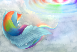 Size: 1900x1280 | Tagged: safe, artist:ray-frost, rainbow dash, pegasus, sky, sonic rainboom