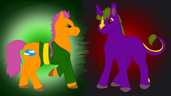 Size: 2606x1469 | Tagged: safe, artist:chili19, oc, oc only, earth pony, pony, unicorn, abstract background, clothes, colored hooves, duo, frown, leonine tail, male, raised hoof, stallion