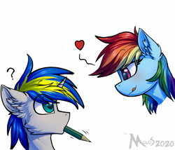Size: 2333x2000 | Tagged: safe, artist:movieskywalker, rainbow dash, oc, oc:dopami korpela, pegasus, pony, unicorn, blushing, canon x oc, dopadash, duo, female, looking at each other, male, pencil, shipping, simple background, straight, white background