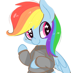 Size: 862x879 | Tagged: dead source, safe, artist:pegacornss, rainbow dash, pegasus, pony, clothes, cute, female, heart eyes, mare, simple background, solo, starry eyes, sweater, transparent background, wingding eyes