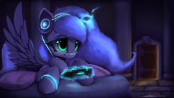 Size: 1920x1080 | Tagged: safe, artist:hitbass, artist:skitsniga, princess luna, alicorn, pony, gamer luna, collaboration, controller, cute, digital art, female, filly, headphones, headset, lunabetes, magic, mare, s1 luna, smiling, solo, spread wings, telekinesis, wings, woona, younger
