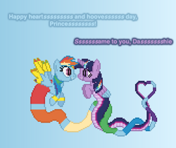 Size: 504x423 | Tagged: safe, artist:verve, rainbow dash, twilight sparkle, alicorn, genie, lamia, original species, pegasus, ain't never had friends like us, female, geniefied, gradient background, heart, hearts and hooves day, lamiafied, lesbian, looking at each other, pixel art, shipping, smiling, species swap, twidash, twilight sparkle (alicorn)