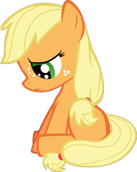 Size: 5000x6294 | Tagged: safe, artist:mrkat7214, applejack, earth pony, pony, absurd resolution, blank flank, female, filly, filly applejack, looking down, sad, simple background, solo, transparent background, unhapplejack, vector, younger