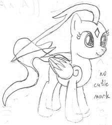 Size: 695x774 | Tagged: safe, artist:parclytaxel, oc, oc only, oc:spindle, pegasus, pony, windigo, series:nightliner, ethereal mane, female, lineart, mare, monochrome, older, pencil drawing, ponified, smiling, solo, species swap, traditional art, transparent flesh, windigo oc