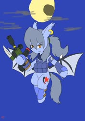 Size: 1451x2048 | Tagged: safe, artist:omegapony16, oc, oc only, oc:oriponi, bat pony, pony, armor, bat pony oc, clothes, ear piercing, earring, female, flying, full moon, gun, hoof hold, jewelry, mare, moon, piercing, scarf, solo, spread wings, vest, weapon, wings
