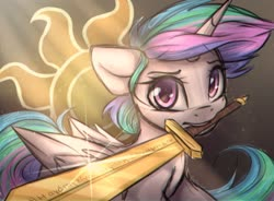 Size: 1360x1000 | Tagged: safe, artist:reterica, princess celestia, alicorn, pony, alternate hairstyle, armor, crepuscular rays, cutie mark, fantasy class, female, greek, knight, looking at you, mare, mouth hold, sketchy, solo, sword, warrior, warrior celestia, weapon