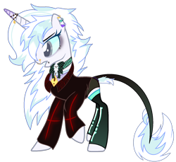 Size: 1450x1328 | Tagged: safe, artist:nocturnal-moonlight, artist:rukemon, oc, oc only, oc:lost legacy (ice1517), pony, unicorn, base used, bone, bowtie, clothes, coat, collar, colored sclera, commission, ear piercing, earring, eyeshadow, female, horn, horn jewelry, jewelry, leonine tail, makeup, mare, nose piercing, nose ring, piercing, raised hoof, shirt, shorts, simple background, skull, snake bites, socks, solo, stockings, t-shirt, thigh highs, transparent background