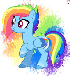 Size: 987x1080 | Tagged: artist needed, source needed, safe, rainbow dash, pegasus, pony, leak, spoiler:g5, colored wings, female, g5, hooves, mare, multicolored wings, rainbow dash (g5), rainbow wings, raised hoof, redesign, simple background, smiling, solo, wings