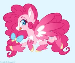 Size: 979x816 | Tagged: safe, artist:dreamyeevee, pinkie pie, pegasus, pony, leak, spoiler:g5, bow, female, g5, hooves, mare, pegasus pinkie pie, pinkie pie (g5), race swap, redesign, simple background, solo, spread wings, tongue out, wings
