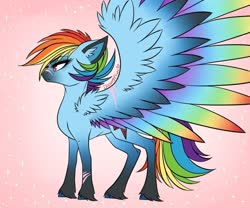 Size: 979x816 | Tagged: safe, artist:dreamyeevee, rainbow dash, pegasus, pony, leak, spoiler:g5, colored wings, female, g5, hooves, mare, multicolored wings, rainbow dash (g5), rainbow wings, redesign, simple background, solo, spread wings, wings