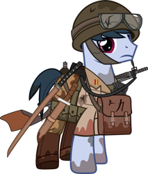 Size: 1280x1502 | Tagged: safe, artist:n0kkun, oc, oc only, oc:hiroshi seung, earth pony, pony, belt, boots, bottle, clothes, dirt, flask, goggles, gun, helmet, kanji, katana, knife, machine gun, male, mud, pants, pouch, shirt, shoes, simple background, solo, stallion, sword, transparent background, weapon, world war ii