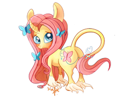 Size: 2721x2204 | Tagged: safe, artist:aclockworkkitten, fluttershy, butterfly, pony, leak, spoiler:g5, big ears, curved horn, female, fluttershy (g5), g5, horn, leonine tail, mare, redesign, simple background, solo, transparent background, unicorn fluttershy