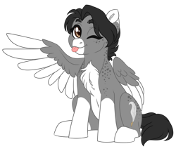 Size: 1024x881 | Tagged: safe, artist:azure-art-wave, oc, oc:ghost quill, pegasus, pony, female, mare, simple background, solo, tongue out, transparent background, two toned wings, wings