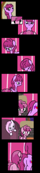 Size: 1800x7788 | Tagged: safe, artist:dinkyuniverse, berry punch, berryshine, piña colada, ruby pinch, earth pony, unicorn, comic:wine essence, comic, couch, female, filly, fireplace, foal, glare, grunt, grunting, house, mare