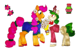 Size: 6000x4000   Tagged: safe, artist:missroxielove, oc, oc only, oc:grapevine daises, oc:vino valentine, earth pony, pony, unicorn, :o, blushing, bouquet, bowtie, clothes, female, flannel, flower, flower in hair, glowing horn, horn, levitation, magic, male, oc x oc, open mouth, overalls, raised hoof, raised leg, shipping, shirt, simple background, straight, suit, telekinesis, traditional art, transparent background, unshorn fetlocks