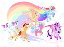 Size: 1024x757 | Tagged: safe, artist:creeate97, applejack, fluttershy, pinkie pie, rainbow dash, rarity, twilight sparkle, alicorn, classical unicorn, earth pony, pegasus, pony, unicorn, alternate design, cloven hooves, leonine tail, mane six, unshorn fetlocks