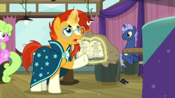 Size: 1920x1080 | Tagged: safe, screencap, cranky doodle donkey, daisy, flower wishes, midnight snack (character), sunburst, a trivial pursuit, spoiler:s09e16, book, friendship student