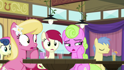 Size: 1920x1080 | Tagged: safe, screencap, bon bon, daisy, flower wishes, goldengrape, lily, lily valley, roseluck, sir colton vines iii, sweetie drops, a trivial pursuit, drink, flower trio