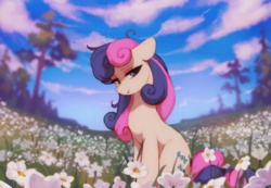 Size: 1780x1234 | Tagged: safe, artist:orchidpony, bon bon, sweetie drops, earth pony, pony, adorabon, cloud, cute, female, flower, lidded eyes, mare, scenery, scenery porn, sitting, sky, smiling, solo