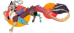 Size: 1920x868 | Tagged: safe, artist:akiiichaos, discord, draconequus, redesign, signature, simple background, smiling, smirk, solo, transparent background