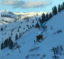 Size: 6000x5496 | Tagged: safe, artist:misstwipietwins, gilda, rainbow dash, griffon, pegasus, pony, absurd resolution, duo, female, mare, mountain, scenery, snow, spread wings, wings