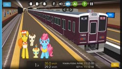Size: 1280x720 | Tagged: safe, artist:punzil504, artist:topsangtheman, carrot cake, cup cake, pound cake, pumpkin cake, earth pony, pegasus, pony, unicorn, cake family, japan, looking at you, train, train station