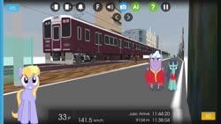 Size: 1280x720 | Tagged: safe, artist:bluemeganium, artist:punzil504, artist:topsangtheman, big bell, cloud kicker, eye black, slapshot, pegasus, pony, unicorn, japan, looking at you, train