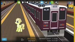 Size: 1280x720 | Tagged: safe, artist:topsangtheman, artist:vector-brony, cinnabar, golden hooves, quicksilver, crystal pony, earth pony, pony, japan, looking at you, train, train station