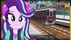 Size: 1280x720 | Tagged: safe, artist:rodan00, artist:topsangtheman, starlight glimmer, equestria girls, close-up, japan, train, train station