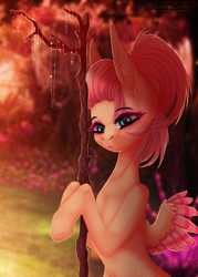 Size: 732x1020 | Tagged: safe, artist:elektra-gertly, fluttershy, pegasus, alternate hairstyle, solo, stick, tree