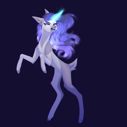 Size: 2800x2800 | Tagged: safe, artist:hyshyy, oc, oc:nightfall, pony, unicorn, blue background, deer tail, female, magic, mare, rearing, simple background, solo