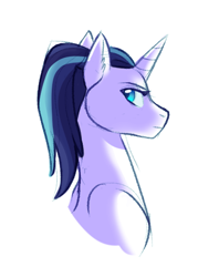 Size: 378x528 | Tagged: safe, artist:butteredpawpcorn, oc, oc:princess valiance, pony, unicorn, bust, not gleaming shield, offspring, parent:princess cadance, parent:shining armor, parents:shiningcadance, simple background, solo, white background