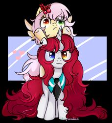 Size: 2958x3231 | Tagged: safe, artist:2pandita, oc, oc only, oc:mistsuki, oc:yuko, pegasus, pony, unicorn, female, heterochromia, high res, mare, necktie, simple background, transparent background