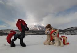 Size: 2069x1438 | Tagged: safe, artist:hihin1993, tempest shadow, oc, oc:poniko, japan, mountain, plushie, scenery, snow