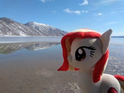 Size: 2080x1560 | Tagged: safe, artist:hihin1993, oc, oc only, oc:poniko, japan, lake, mountain, plushie, scenery, solo