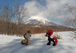 Size: 2080x1436 | Tagged: safe, artist:hihin1993, tempest shadow, oc, oc:pirika, forest, japan, mountain, plushie, scenery, snow