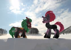 Size: 2048x1462 | Tagged: safe, artist:hihin1993, cinder glow, summer flare, tempest shadow, japan, snow
