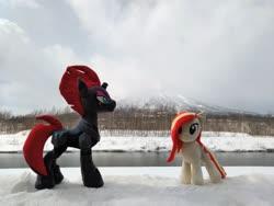Size: 2080x1560 | Tagged: safe, artist:hihin1993, tempest shadow, oc, oc:poniko, japan, mountain, snow