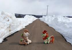 Size: 2080x1428 | Tagged: safe, artist:hihin1993, autumn blaze, oc, oc:pirika, japan, road, snow