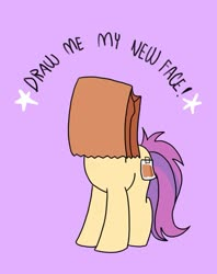 Size: 795x1005 | Tagged: safe, artist:paperbagpony, oc, oc:paper bag, earth pony, female, paper bag