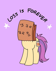 Size: 795x1005   Tagged: safe, artist:paperbagpony, oc, oc only, oc:paper bag, earth pony, female, loss (meme), paper bag, simple background, solo