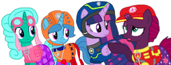Size: 2287x869 | Tagged: safe, artist:徐詩珮, fizzlepop berrytwist, glitter drops, spring rain, tempest shadow, twilight sparkle, alicorn, pony, unicorn, series:sprglitemplight diary, series:sprglitemplight life jacket days, series:springshadowdrops diary, series:springshadowdrops life jacket days, aid marshall, aid marshall (paw patrol), alternate universe, base used, bisexual, broken horn, chase, chase (paw patrol), clothes, collar, cute, equestria girls outfit, eyelashes, female, glitterbetes, glitterlight, glittershadow, goggles, hat, helmet, horn, lesbian, lifeguard, lifeguard spring rain, looking at each other, marshall, marshall (paw patrol), open mouth, paw patrol, polyamory, shipping, simple background, skye, skye (paw patrol), sprglitemplight, springbetes, springdrops, springlight, springshadow, springshadowdrops, spy chase, spy chase (paw patrol), tempestbetes, tempestlight, transparent background, twilight sparkle (alicorn), underhoof, vector, whistle, whistle necklace, worried, zuma, zuma (paw patrol)