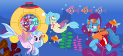 Size: 2340x1080 | Tagged: safe, artist:rainbow eevee edits, artist:徐詩珮, fizzlepop berrytwist, glitter drops, pinkie pie, princess skystar, silverstream, spring rain, tempest shadow, twilight sparkle, alicorn, fish, pony, seapony (g4), unicorn, series:sprglitemplight diary, series:sprglitemplight life jacket days, series:springshadowdrops diary, series:springshadowdrops life jacket days, my little pony: the movie, alternate universe, amazed, bisexual, broken horn, bubble, chase, chase (paw patrol), clothes, cousins, cute, daaaaaaaaaaaw, diastreamies, equestria girls outfit, exploring, eyelashes, female, freckles, glitterbetes, glitterlight, glittershadow, goggles, grin, hat, helmet, horn, kelp, lesbian, lifeguard, lifeguard spring rain, looking at you, marshall, marshall (paw patrol), ocean, open mouth, paw patrol, polyamory, shipping, skyabetes, skye, skye (paw patrol), smiling, smiling at you, snorkeling, sprglitemplight, springbetes, springdrops, springlight, springshadow, springshadowdrops, submarine, tempestbetes, tempestlight, twilight sparkle (alicorn), underwater, wall of tags, zuma, zuma (paw patrol)