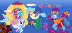 Size: 2340x1080 | Tagged: safe, artist:rainbow eevee edits, artist:徐詩珮, fizzlepop berrytwist, glitter drops, pinkie pie, princess skystar, silverstream, spring rain, tempest shadow, twilight sparkle, alicorn, fish, pony, seapony (g4), unicorn, series:sprglitemplight diary, series:sprglitemplight life jacket days, series:springshadowdrops diary, series:springshadowdrops life jacket days, my little pony: the movie, alternate universe, amazed, bisexual, broken horn, bubble, chase, chase (paw patrol), clothes, cousins, cute, daaaaaaaaaaaw, dialogue, diastreamies, equestria girls outfit, exploring, eyelashes, female, freckles, glitterbetes, glitterlight, glittershadow, goggles, grin, hat, helmet, horn, kelp, lesbian, lifeguard, lifeguard spring rain, looking at you, marshall, marshall (paw patrol), ocean, open mouth, paw patrol, polyamory, shipping, skyabetes, skye, skye (paw patrol), smiling, smiling at you, snorkeling, sprglitemplight, springbetes, springdrops, springlight, springshadow, springshadowdrops, submarine, tempestbetes, tempestlight, twilight sparkle (alicorn), underwater, wall of tags, zuma, zuma (paw patrol)