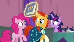 Size: 1920x1080   Tagged: safe, screencap, pinkie pie, sunburst, twilight sparkle, alicorn, a trivial pursuit, spoiler:s09e16, bell, book, messy mane, twilight sparkle (alicorn)
